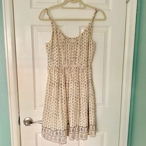 Madewell Silk Patterned Cream Dress Size 2